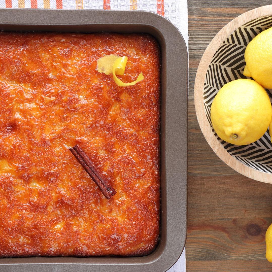 Λεμονόπιτα σιροπιαστή (πατσαβουρόπιτα γλυκιά)