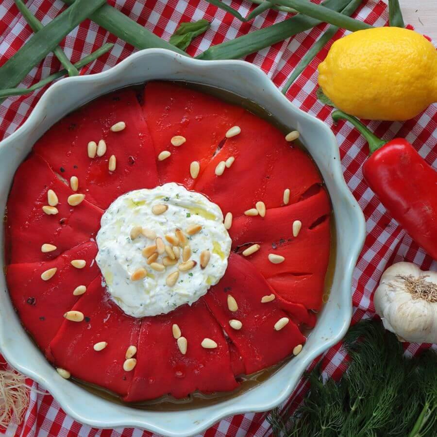 Πίτα χωρίς φύλλο με πιπεριές φλωρίνης