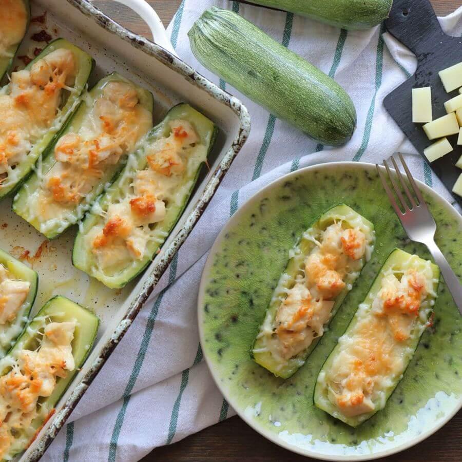κολοκυθάκια γεμιστά με τυρί κοτόπουλο