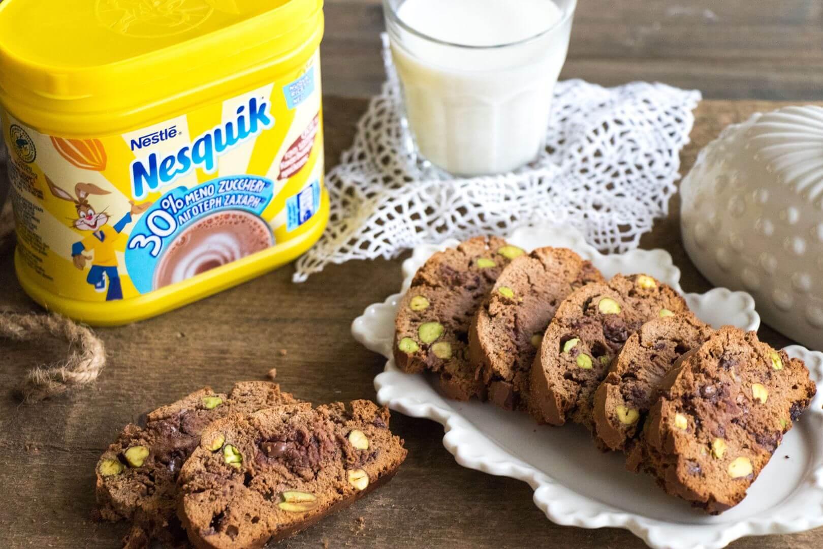 Τραγανά μπισκότα με φιστίκια Αιγίνης και σοκολάτα