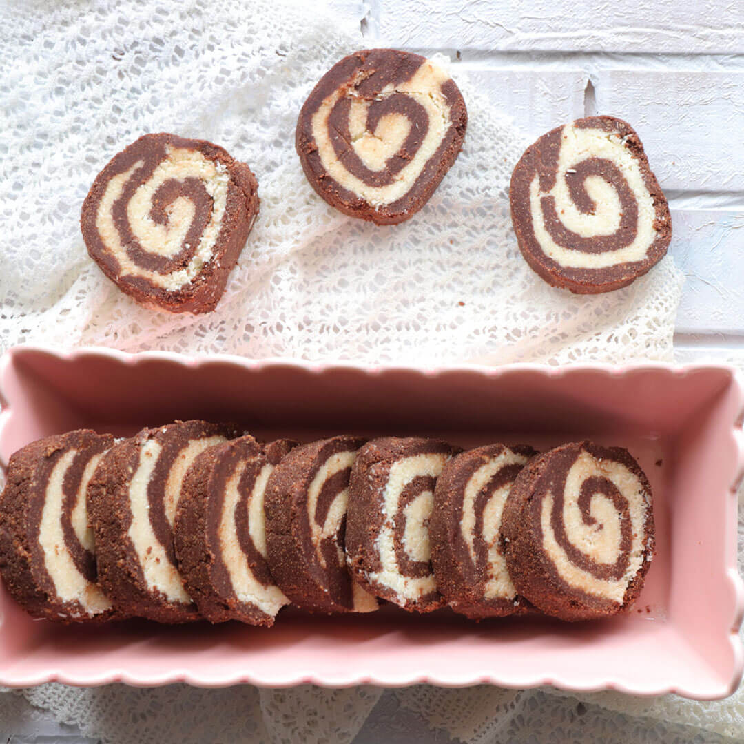Ρολάκια καρύδας σοκολάτας